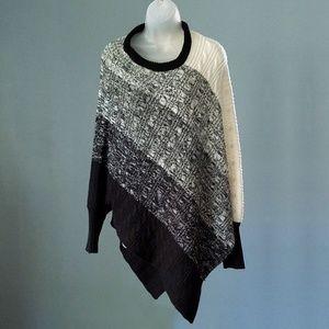 Relativity Grey & Black Dolman Sweater Poncho L